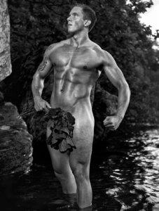 Swedish bodybuilder posing